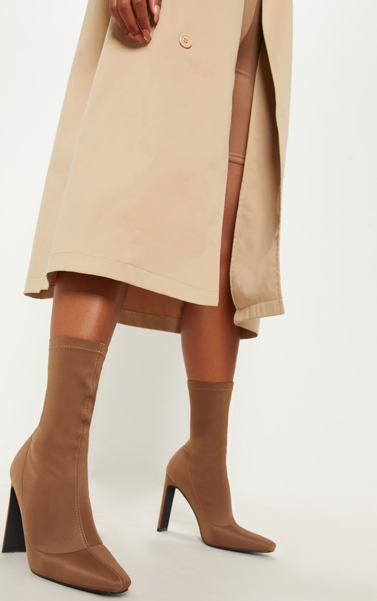 Taupe Lycra Flat Heel Ankle Boot 1