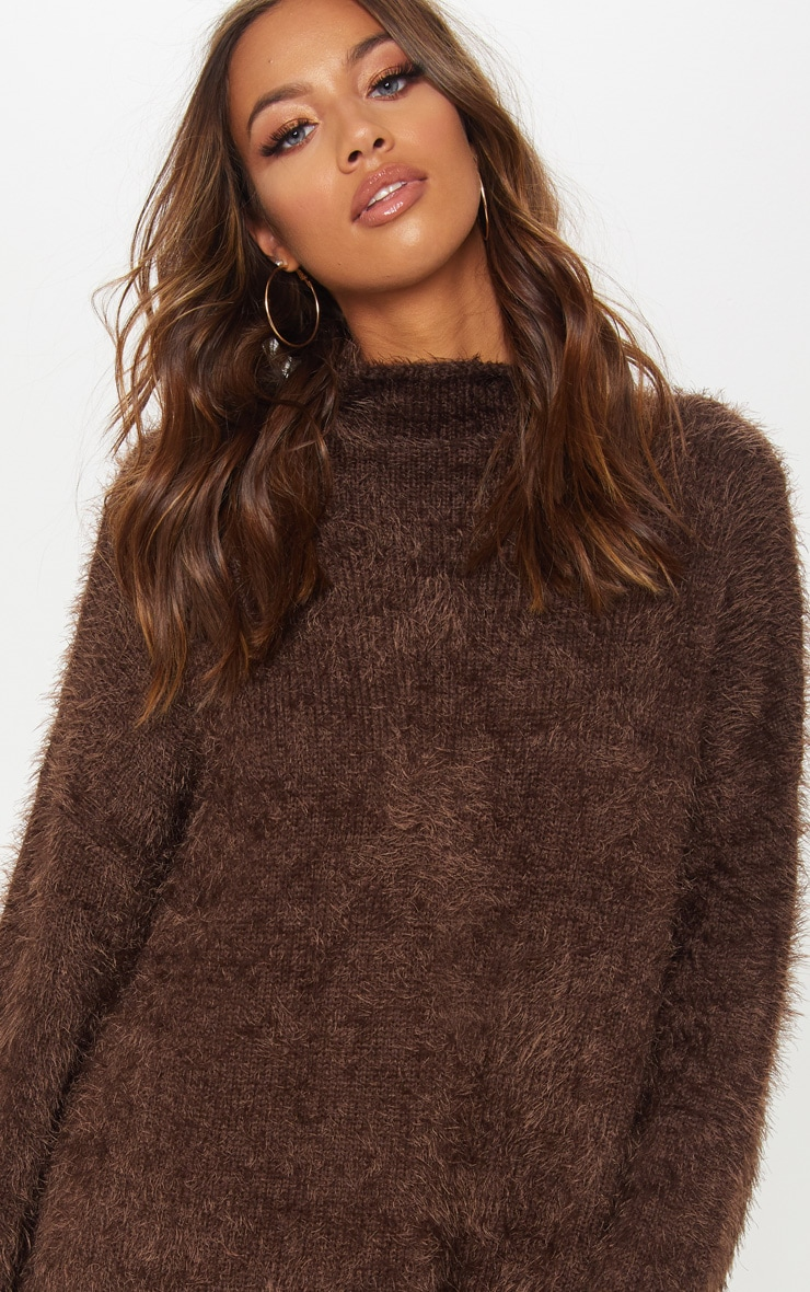 Brown Oversized Eyelash Sweater 5