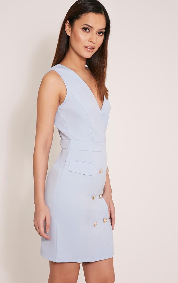 Keera Baby Blue Button Detail Blazer Dress 3