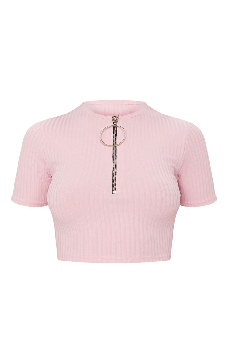 Baby Pink Rib Ring Pull Crop Top 3