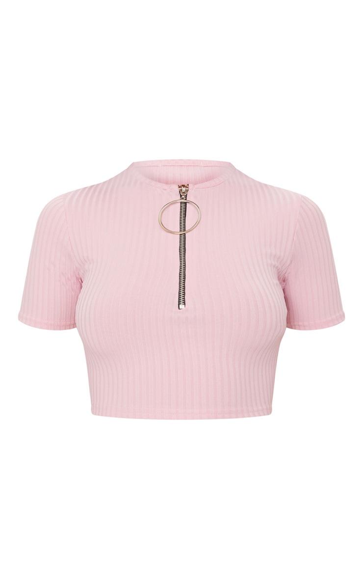 Baby Pink Rib Ring Pull Crop Top 3