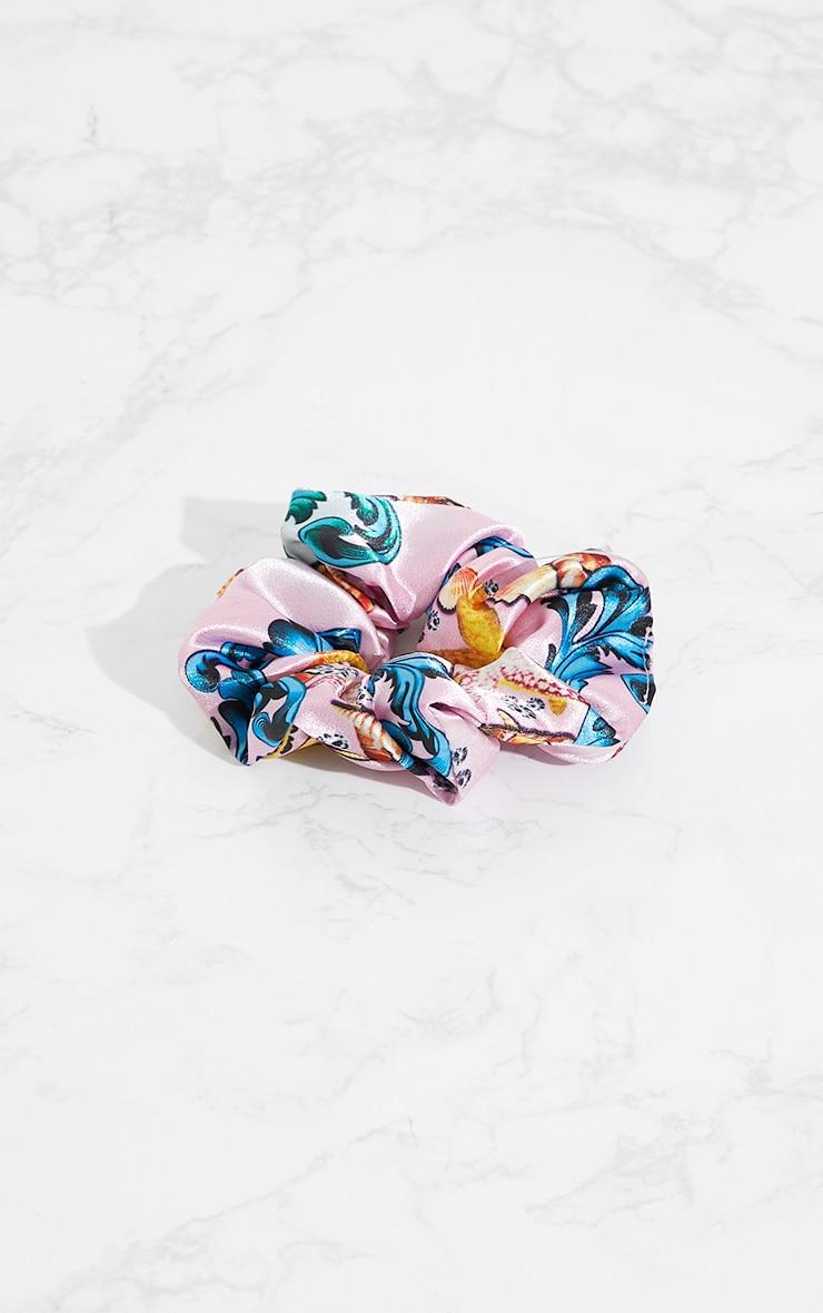 Pink Under the Sea Print Hair Scrunchie 3
