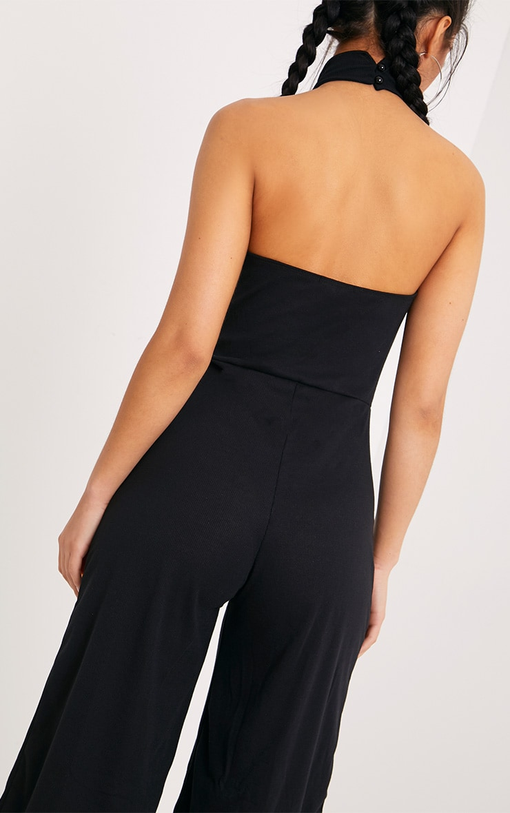 Marcie Black High Neck Low Back Culotte Jumpsuit 5