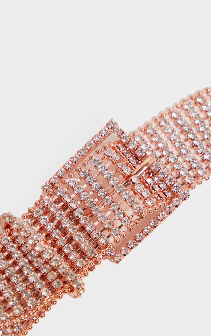 Rose Gold Diamante Chain Link Belt 4