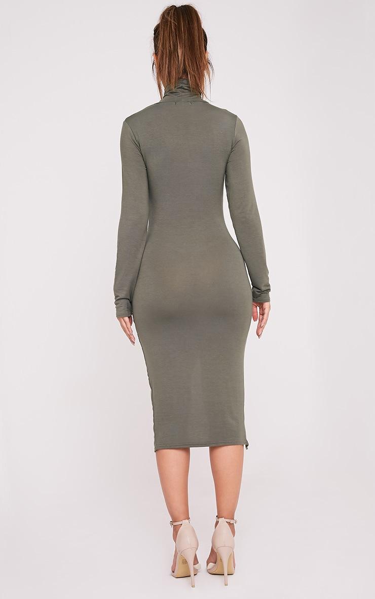Fazena Khaki High Neck Side Split Midi Dress 2