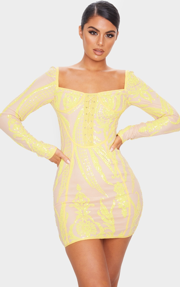 Yellow Sequin Patterened Long Sleeve Lace Up Bodice Bodycon Dress 1