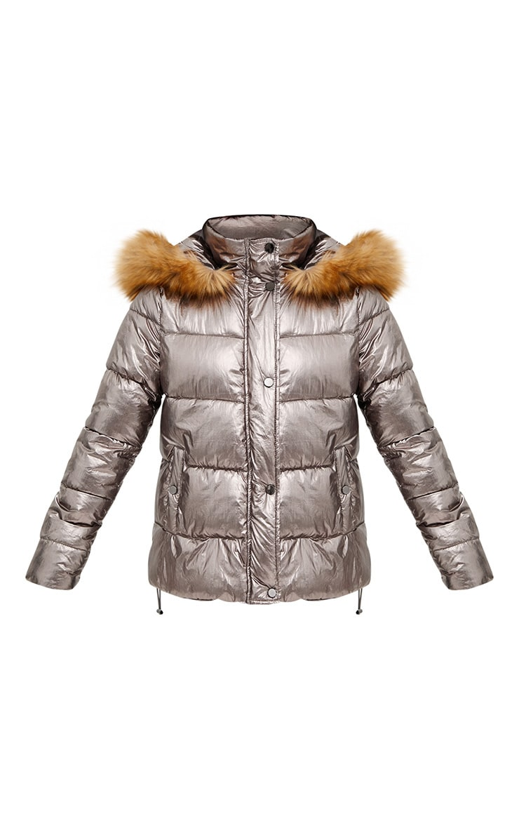 Gunmetal Foil Puffer Jacket With Faux Fur Hood 3