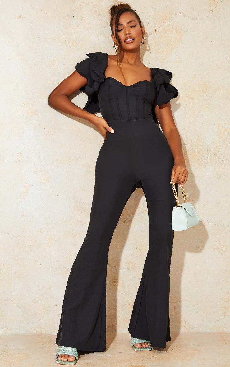 Black Lace Back Frill Sleeve Jumpsuit 3
