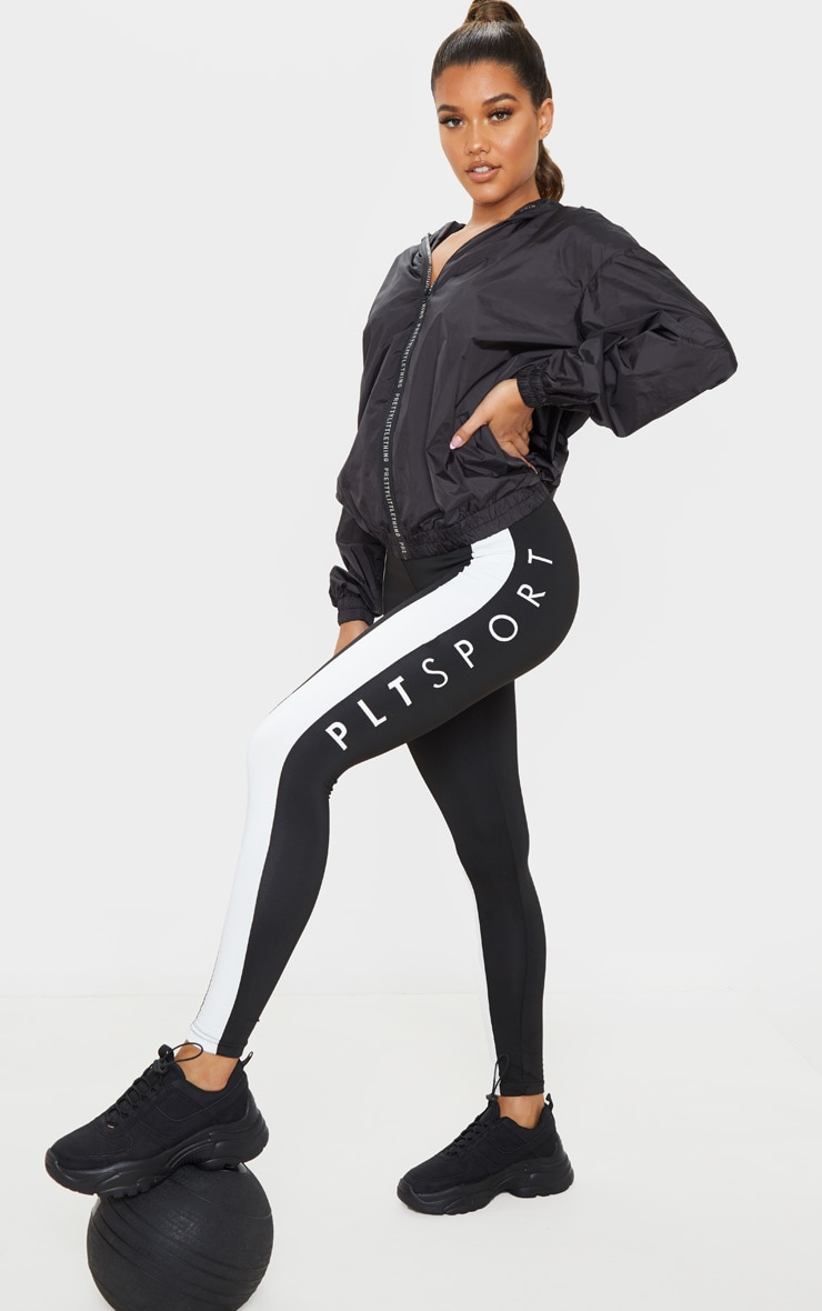 PRETTYLITTLETHING Black Sport Zip Up Windbreaker 3