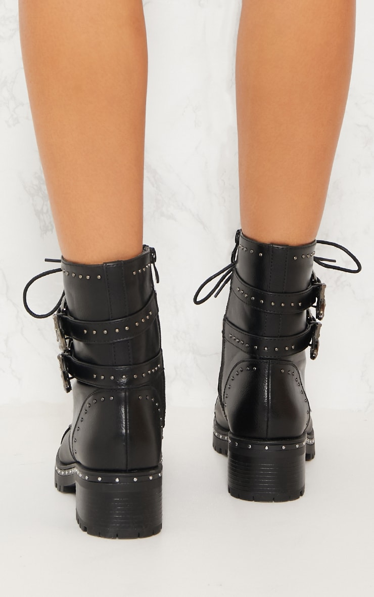 Black Buckle Side Studded Biker Boot 3