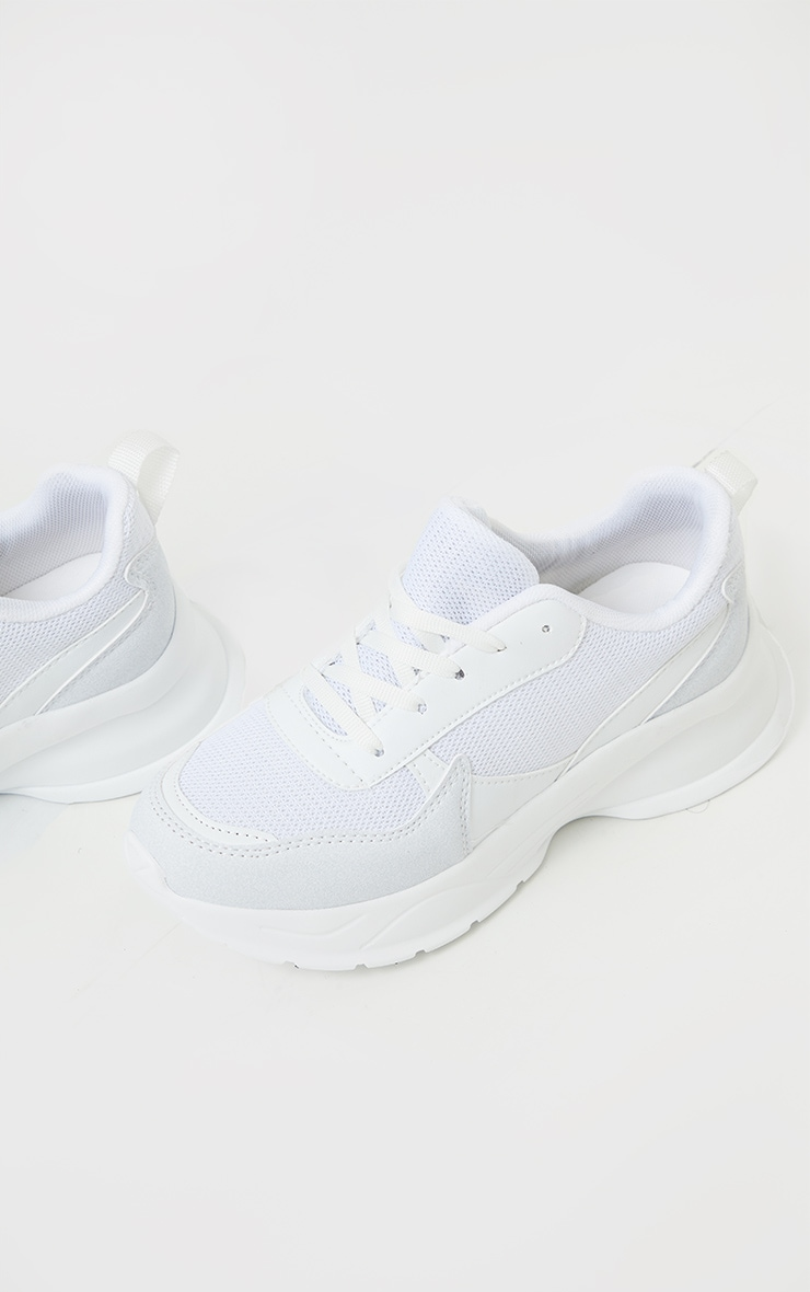 White Chunky Sole Mesh Trainer 1