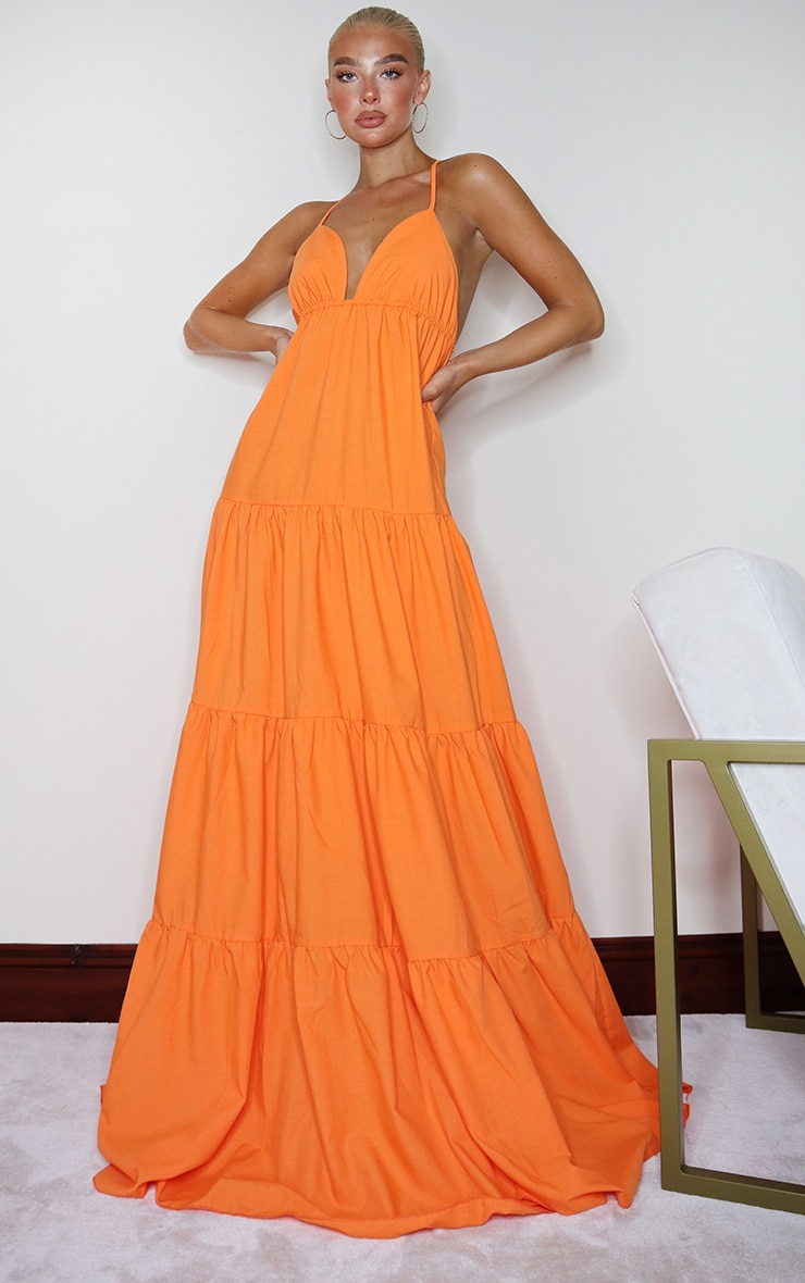 Orange Woven Tiered Smock Maxi Dress 1