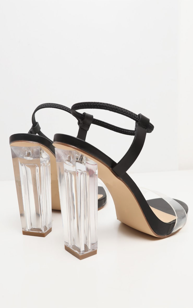 Black Wide Fit Clear Block Heel Strappy Sandal 3