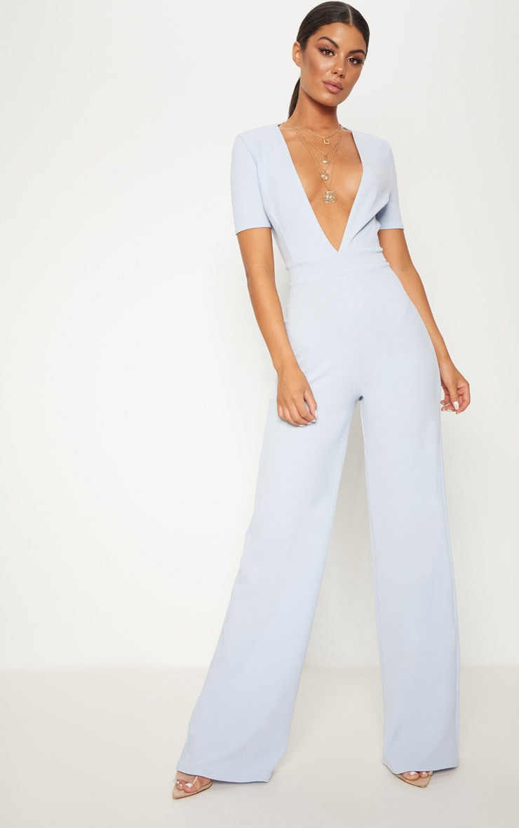 Powder Blue Crepe Short Sleeve Plunge Jumpsuit