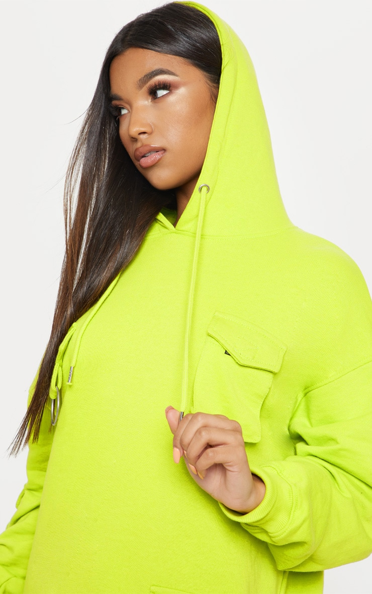 Neon Green Pocket Front Hoodie Dress 5