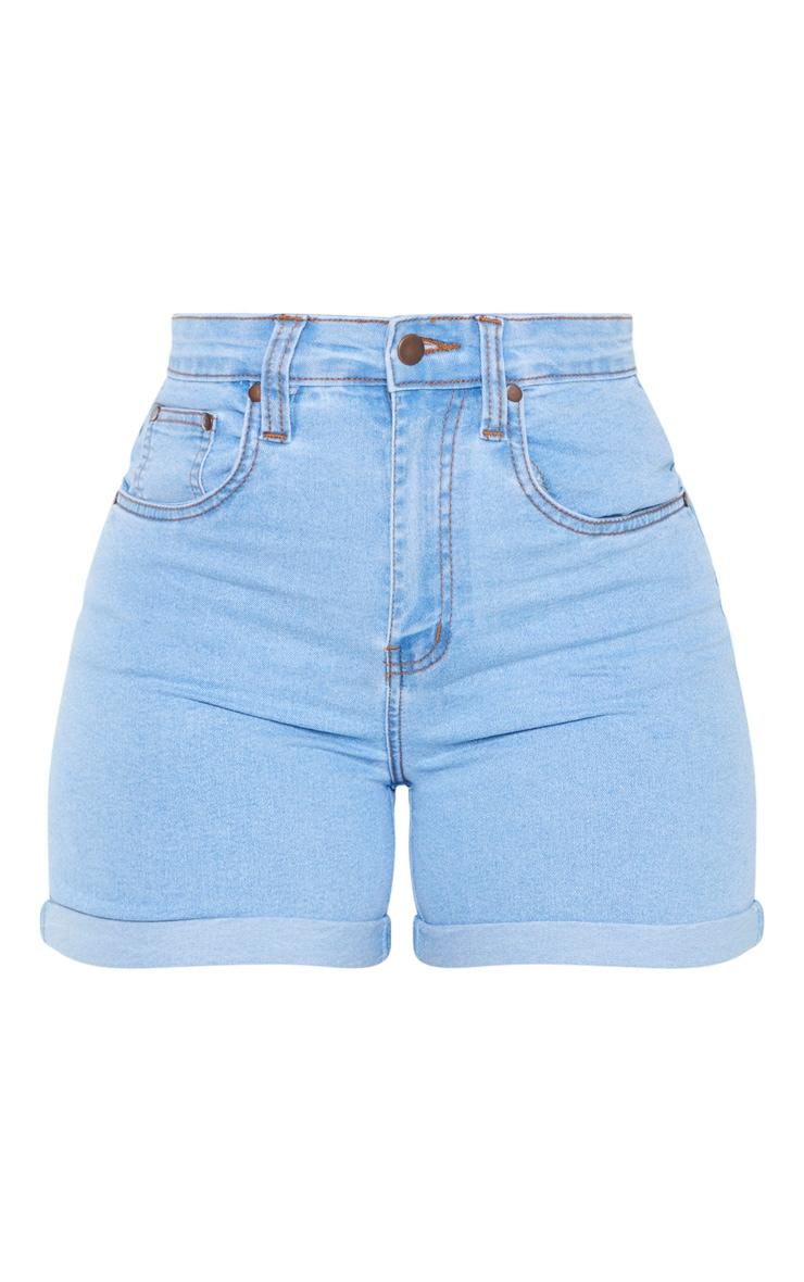 Shape Light Wash High Waist Fitted Denim Shorts 3