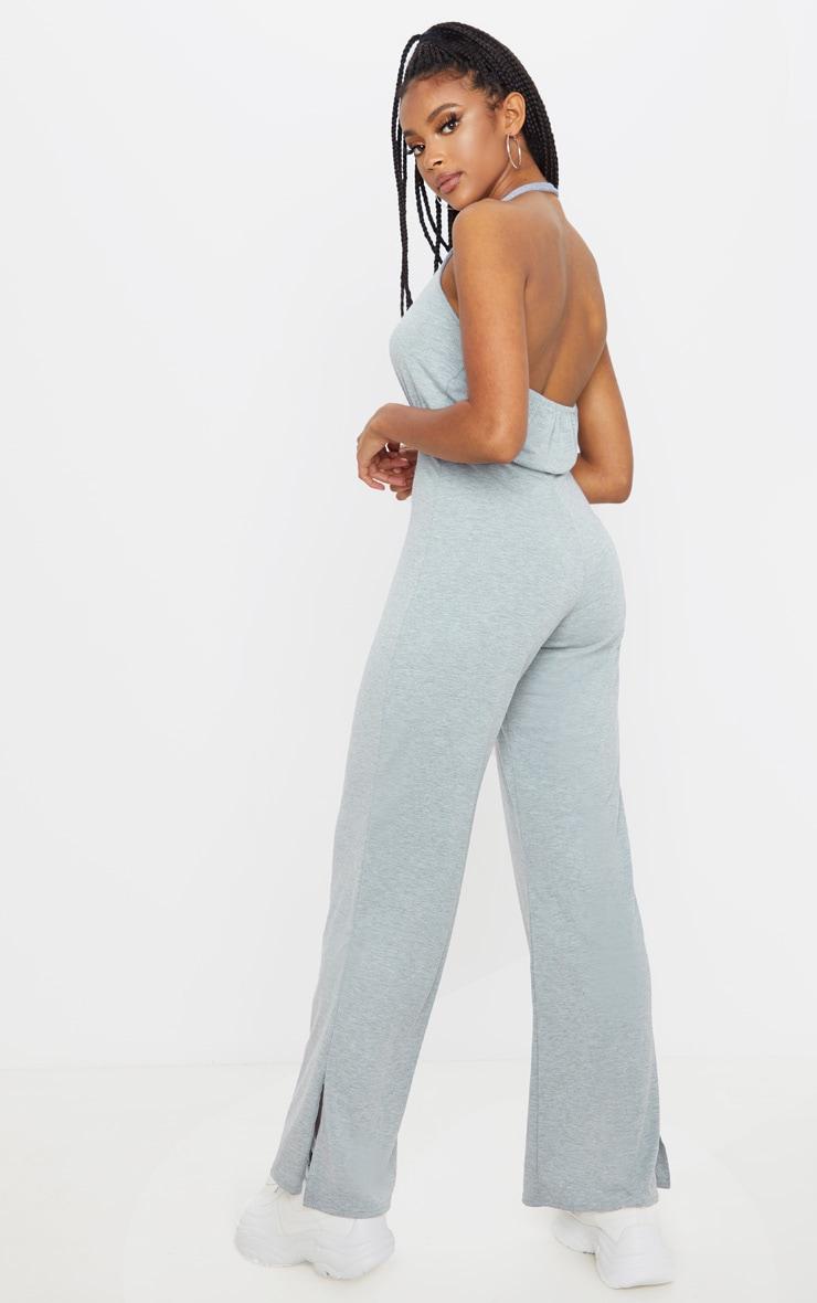 Grey Halterneck Jersey Wide Leg Jumpsuit 1