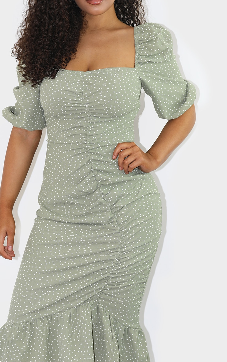 Sage Green Polka Dot Ruched Front Frill Hem Midi Dress 4