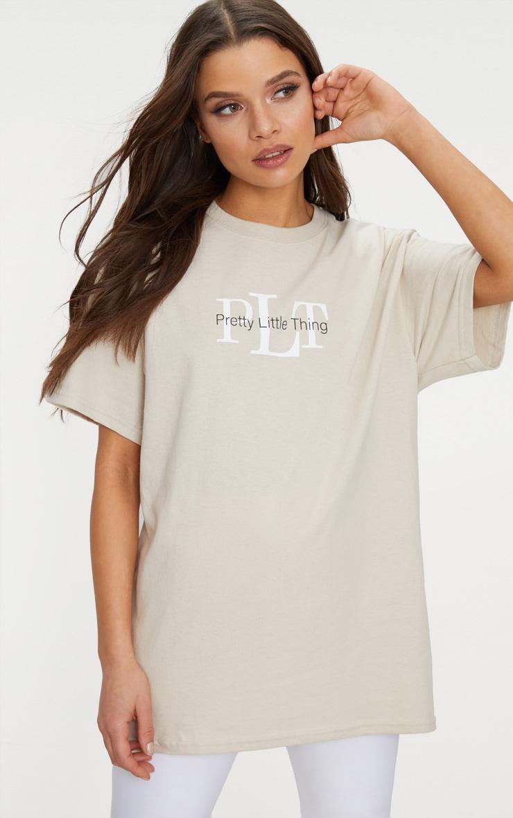 PRETTYLITTLETHING Sand Oversized Slogan T Shirt 3