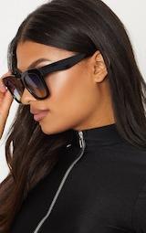 Black Blue Lens Oversized Square Sunglasses 2