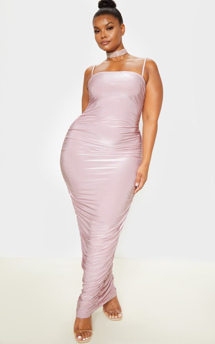 Plus Dusty Lilac Strappy Slinky Ruched Back Maxi Dress 1