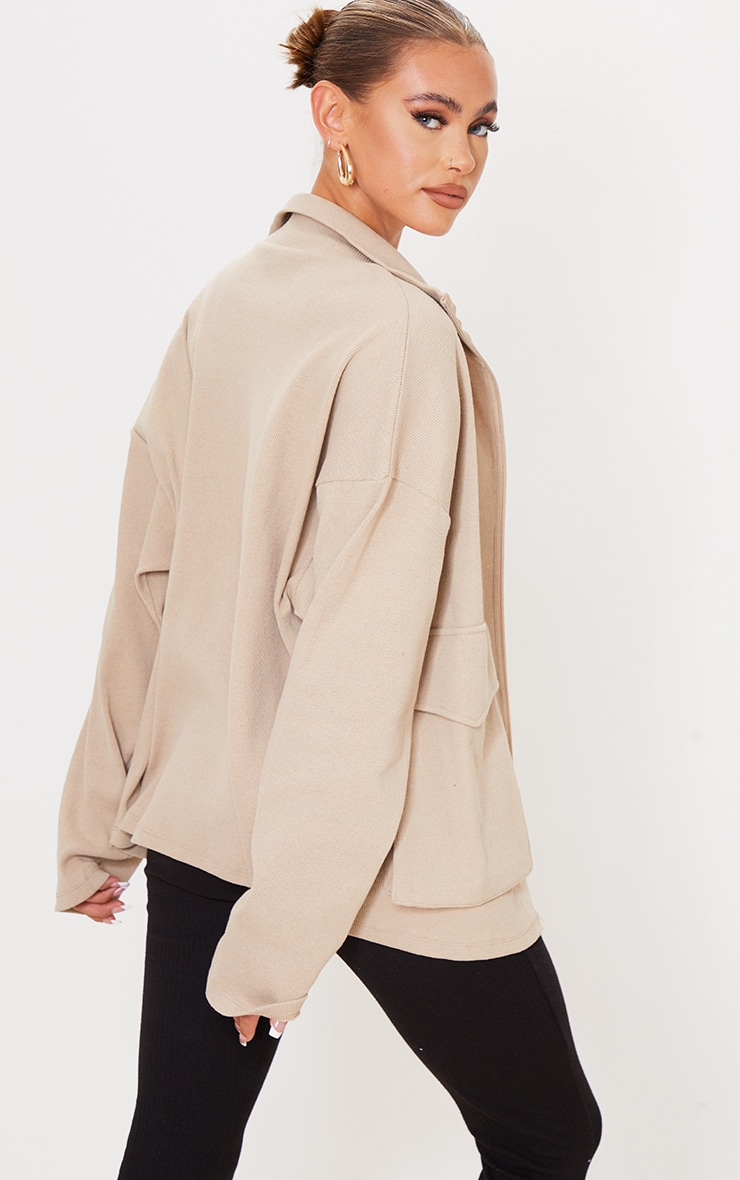 PRETTYLITTLETHING Beige Pocket Front Ribbed New Season Jacket 2