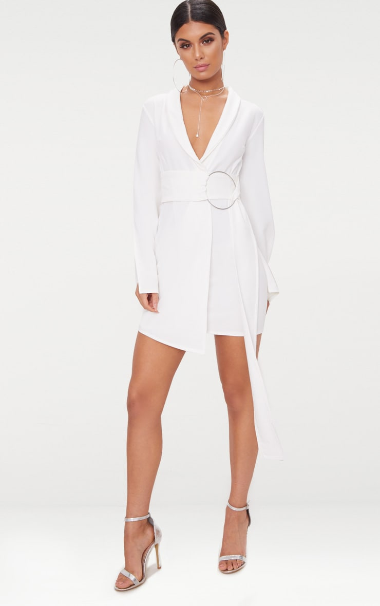 White Oversized Ring Detail Blazer Dress 1