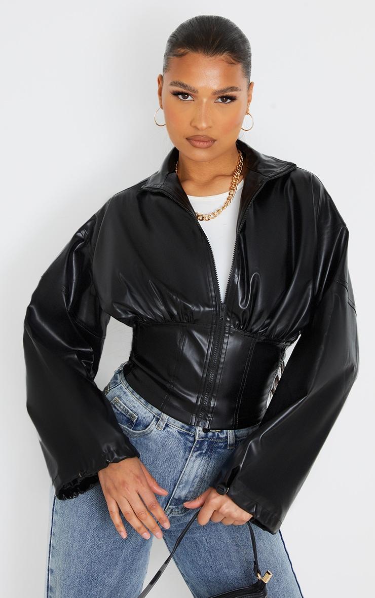 Veste style corset en similicuir noir 1