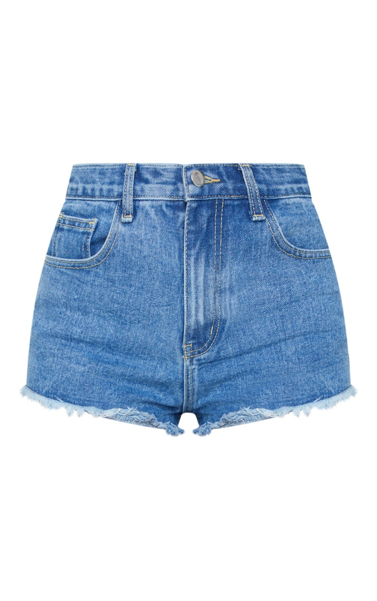 PRETTYLITTLETHING Mid Blue Wash Frayed Hem Bum Rip Denim Shorts 6