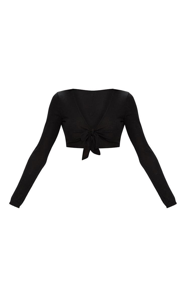 Top tricot noir noué devant 3