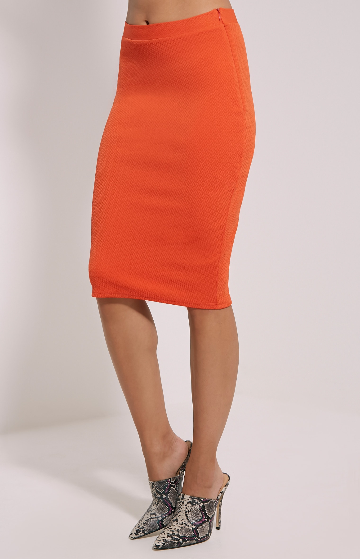 Beulah Orange Textured Midi Skirt 3
