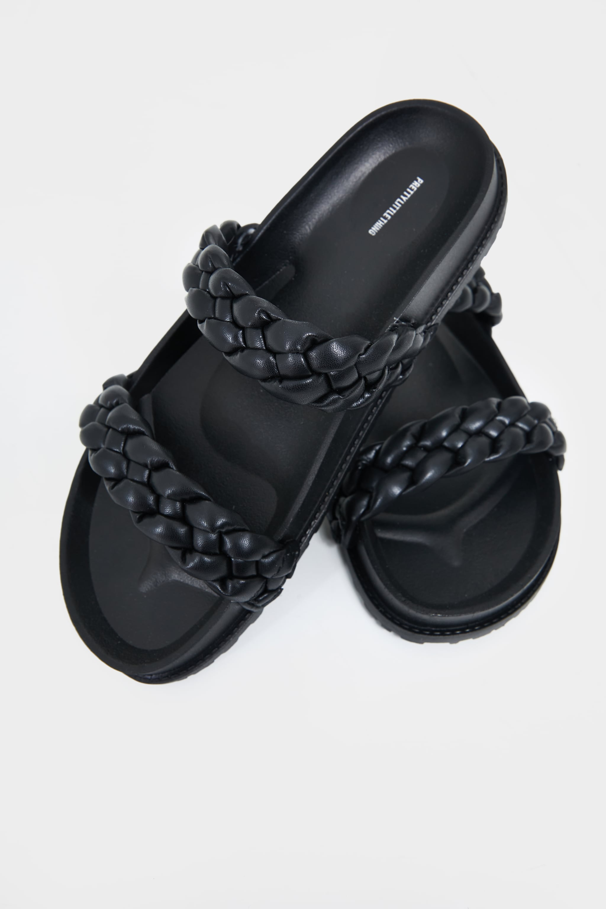 Black PU Chunky Platted Twin Strap Footbed Sandals 4
