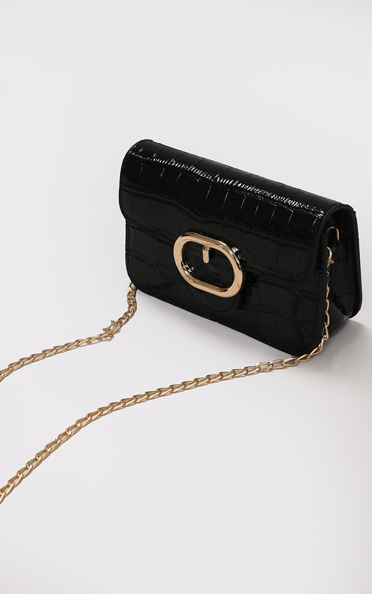 Black Croc Oval Detail Cross Body Bag 1