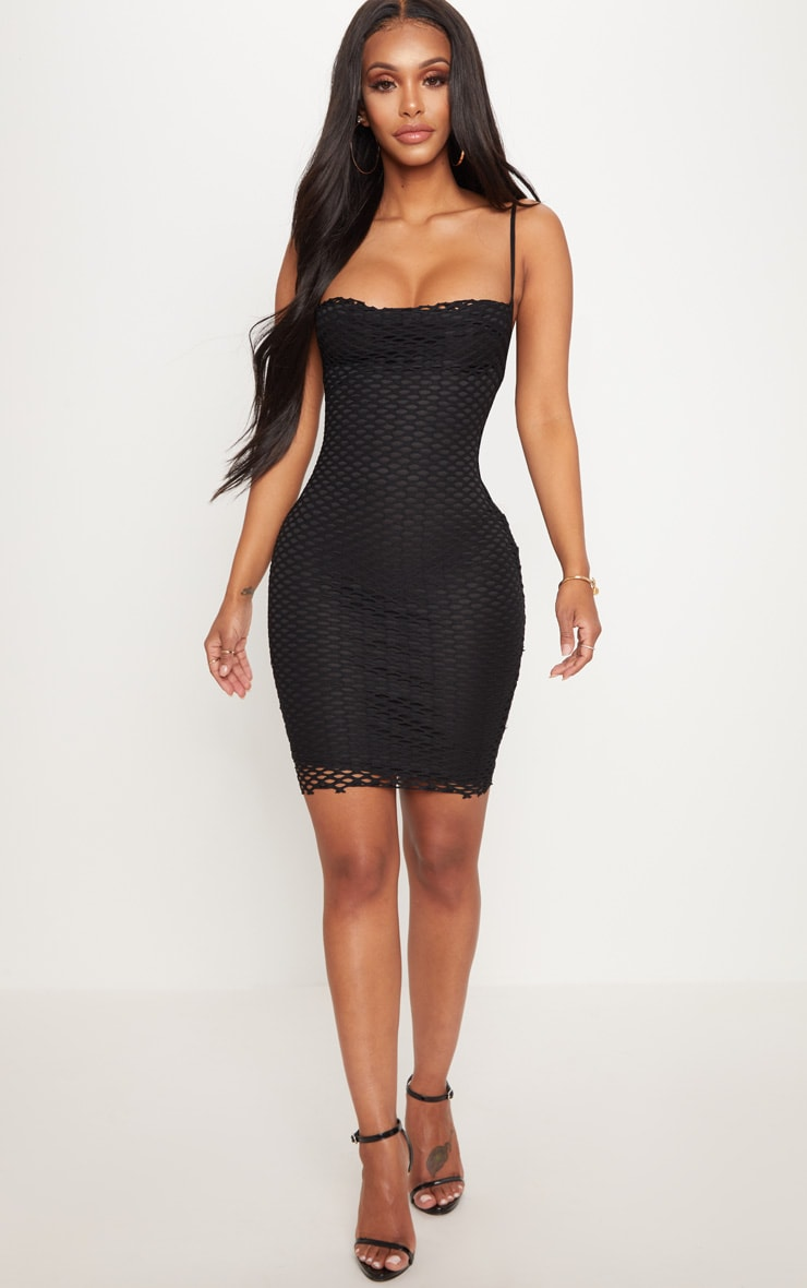 Shape Black Fishnet Cowl Bodycon Dress 4