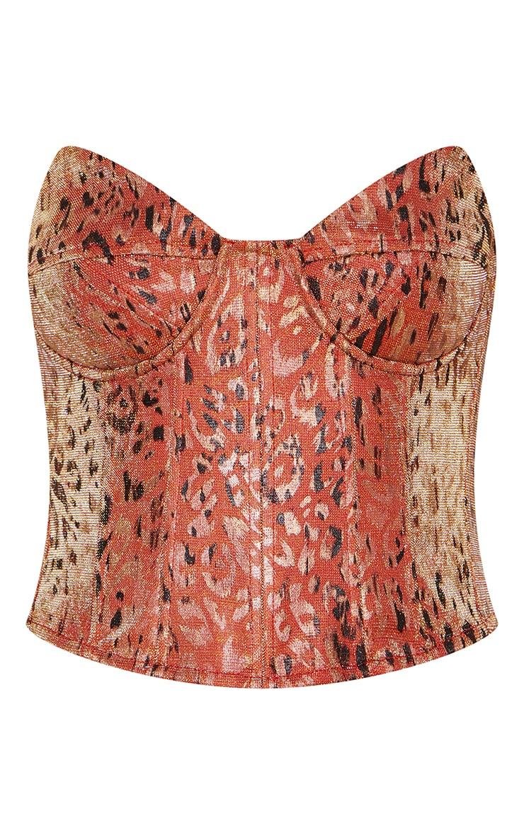 Orange Woven Metallic Leopard Print Pointed Edge Corset Top 5