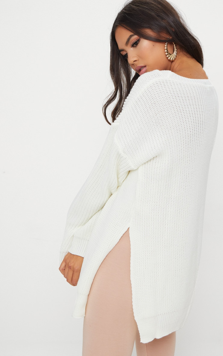 Cream Round Neck Side Split Jumper 2