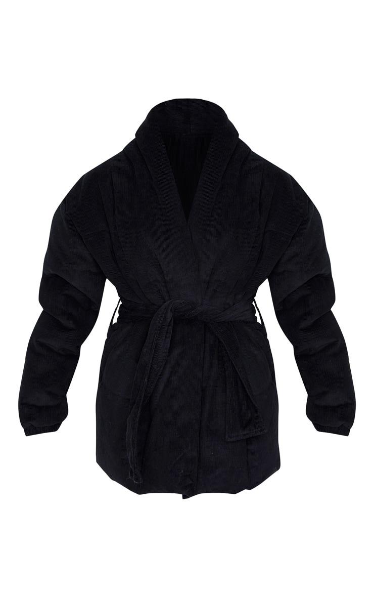Black Cord Collar Tie Waist Puffer Jacket 3