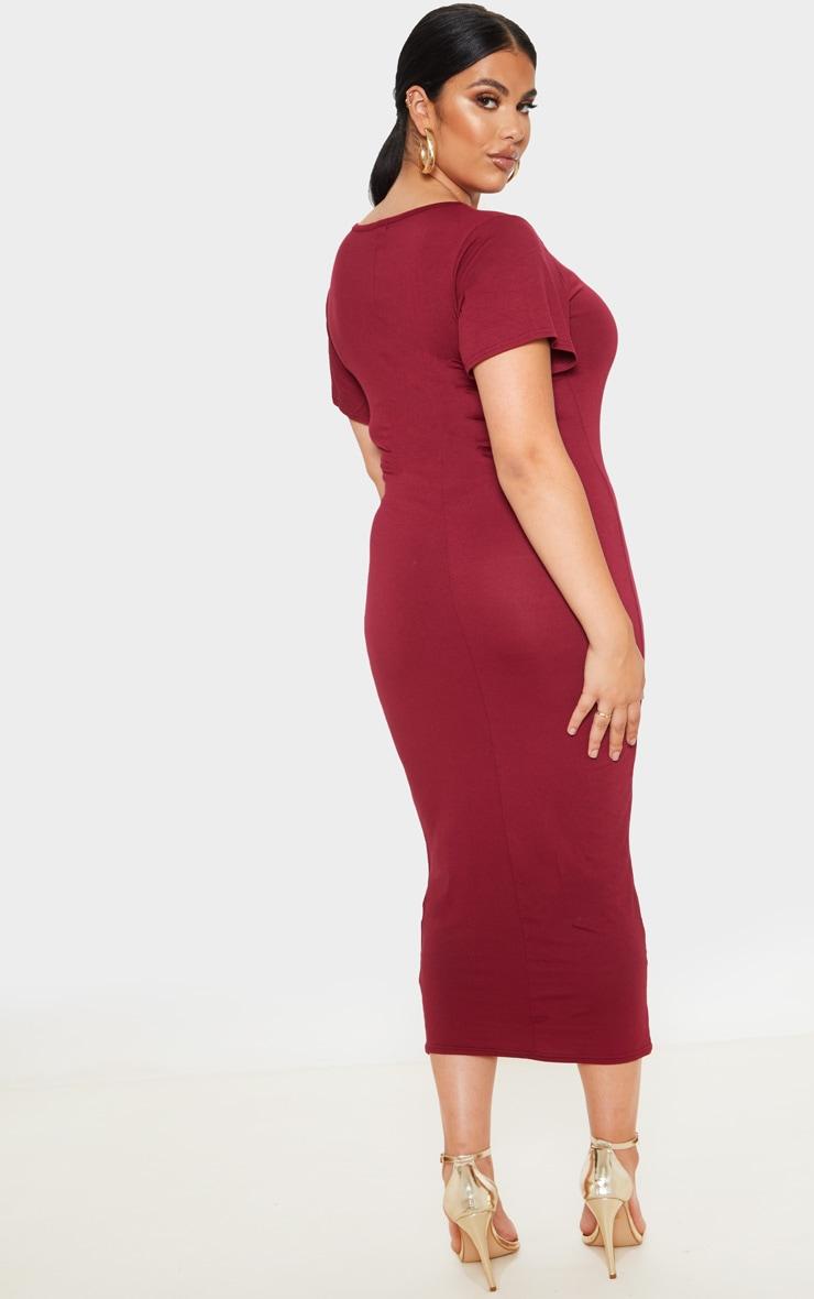 Plus Burgundy Jersey V Neck T- Shirt Midi Dress 2