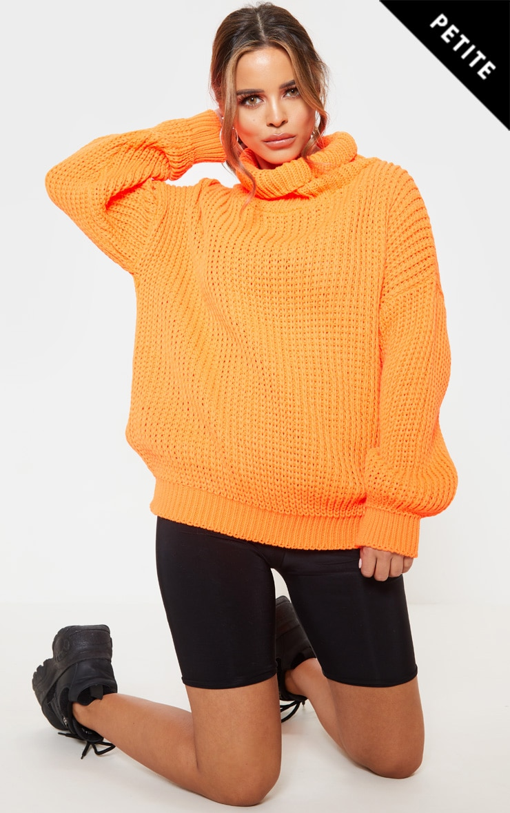 Petite Neon Orange Roll Neck Oversized Chunky Knit Jumper 1