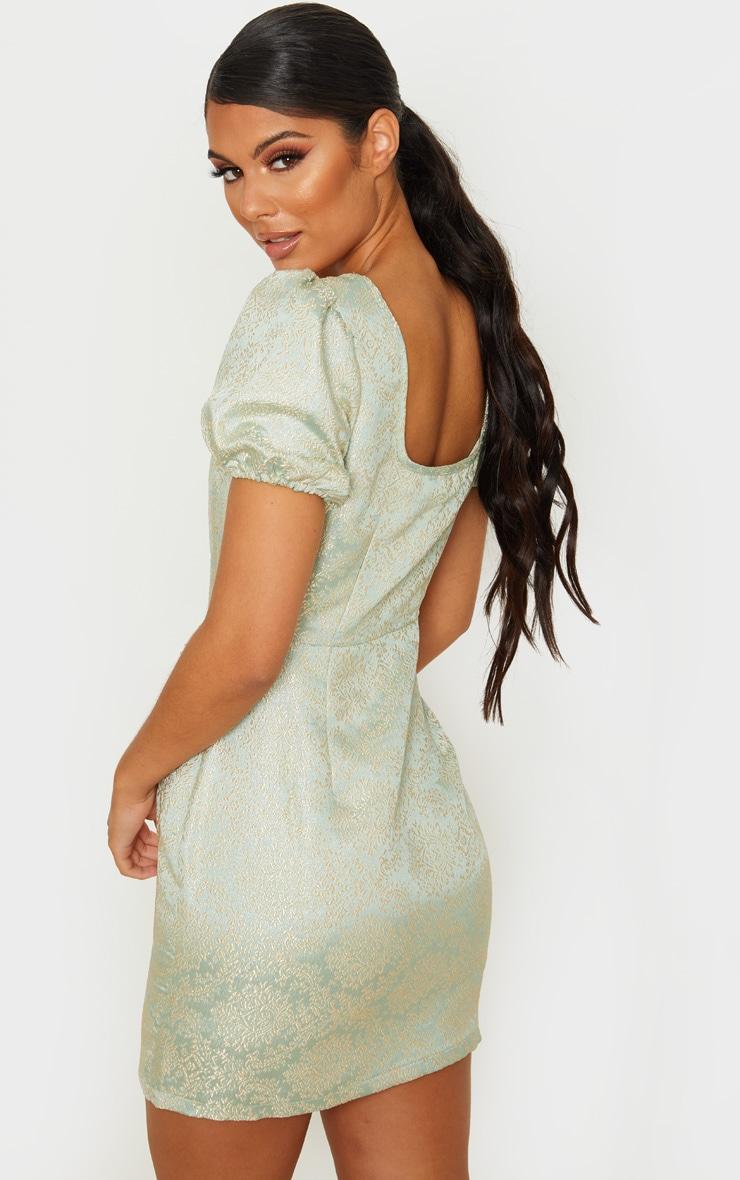 Mint Jacquard Short Sleeve Square Neck Bodycon Dress 2