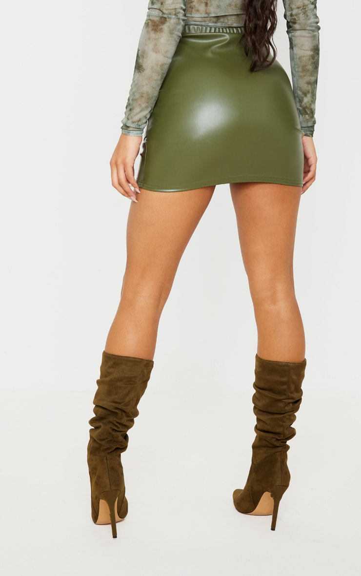 Khaki Faux Leather Ruched Wrap Skirt 4