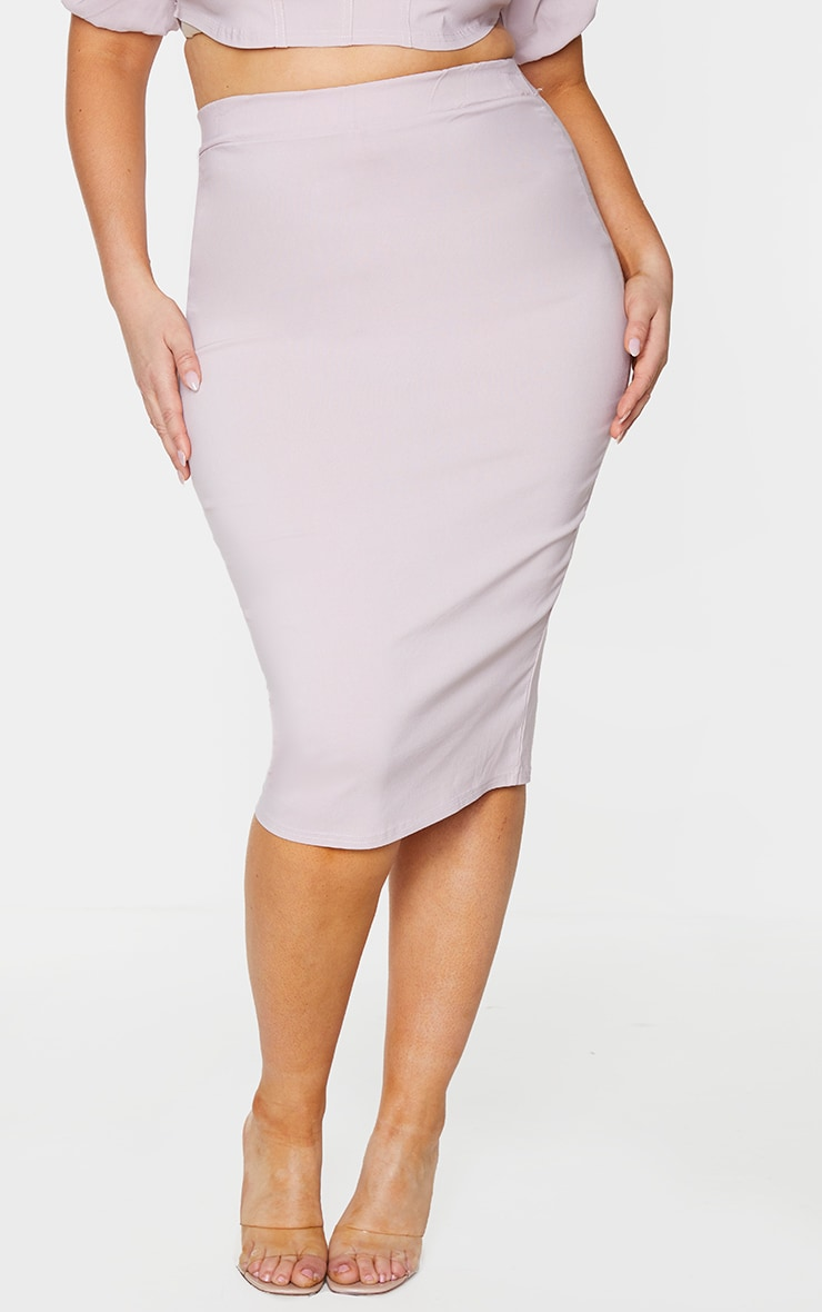 Plus Dusty Pink Stretch Seam Detail Midi Skirt 2