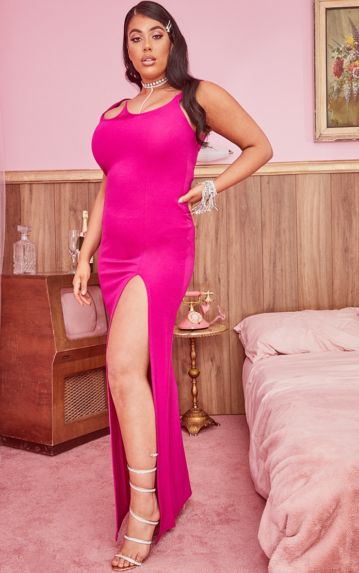 Plus Hot Pink Structured Bodice Maxi Dress 3