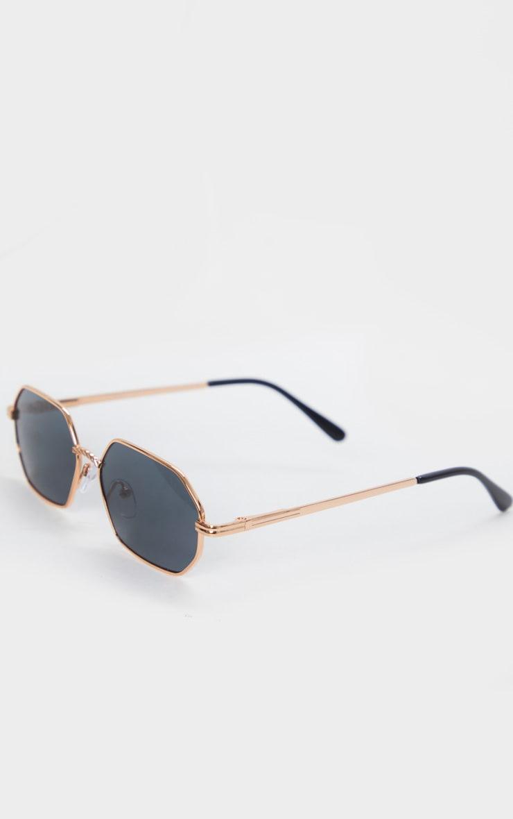 Gold Trim Rose Gold Lens Hexagon Sunglasses 2