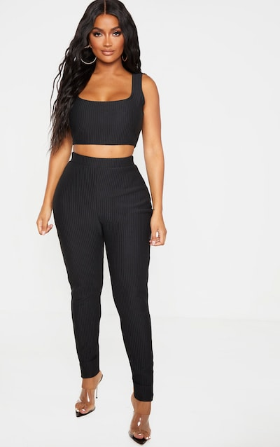 Shape Black Jumbo Rib Leggings