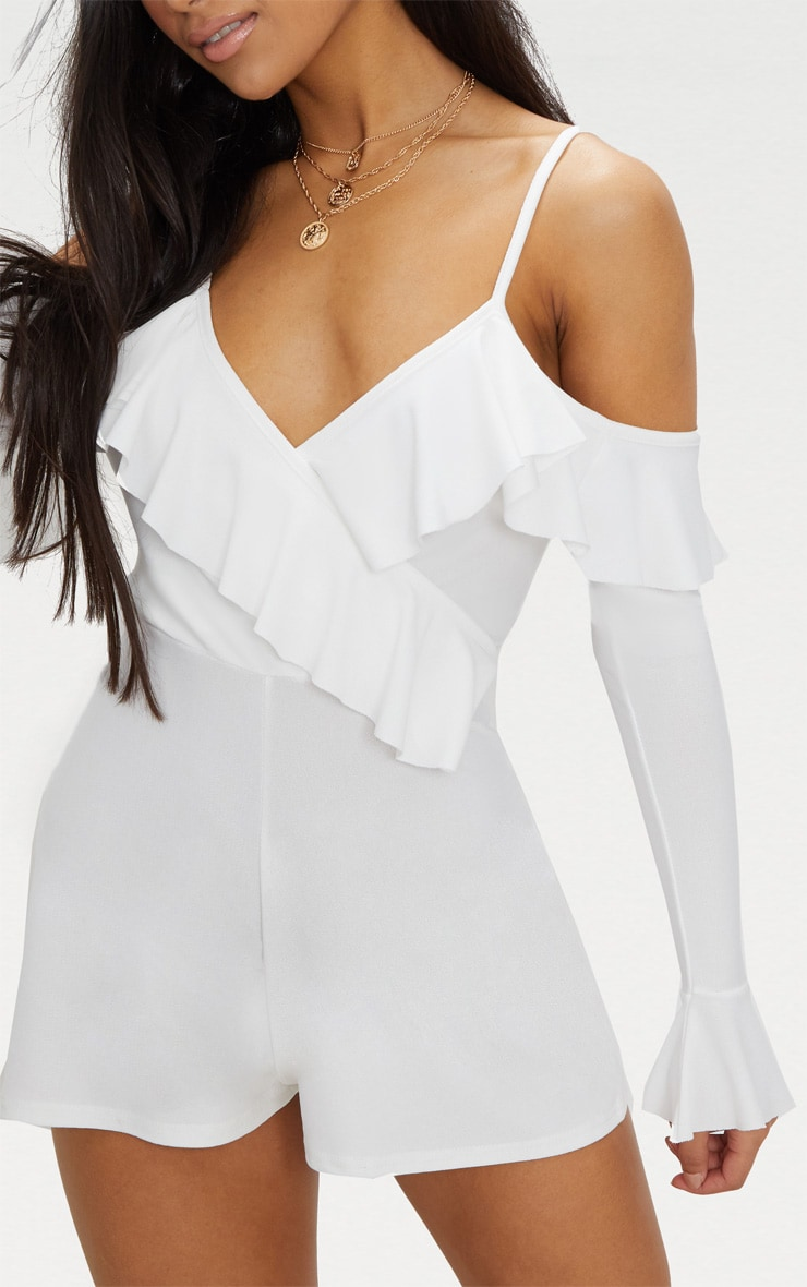 White Crepe Frill Cold Shoulder Playsuit 5