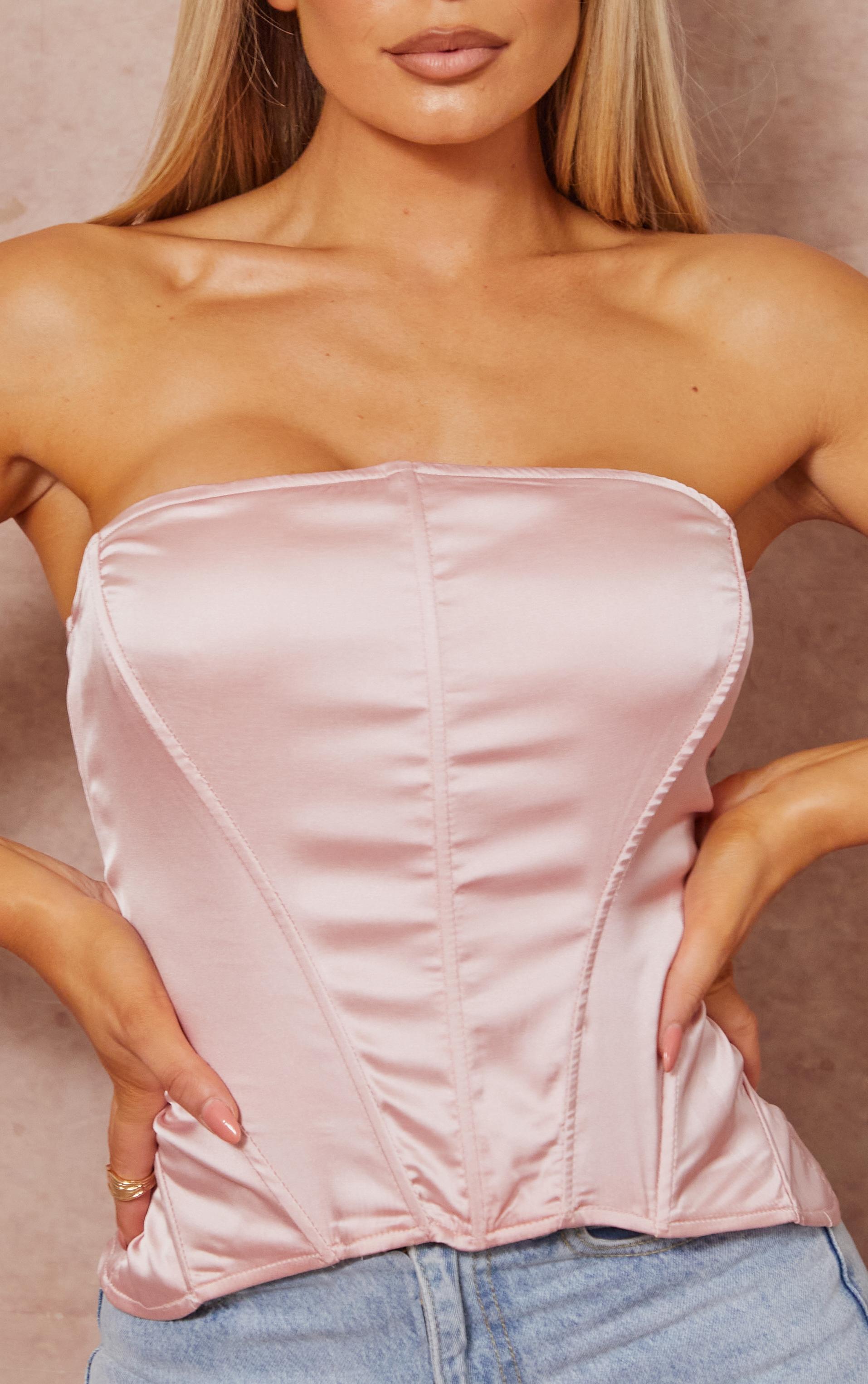 Dusty Pink Satin Structured Dip Hem Bandeau Corset 4