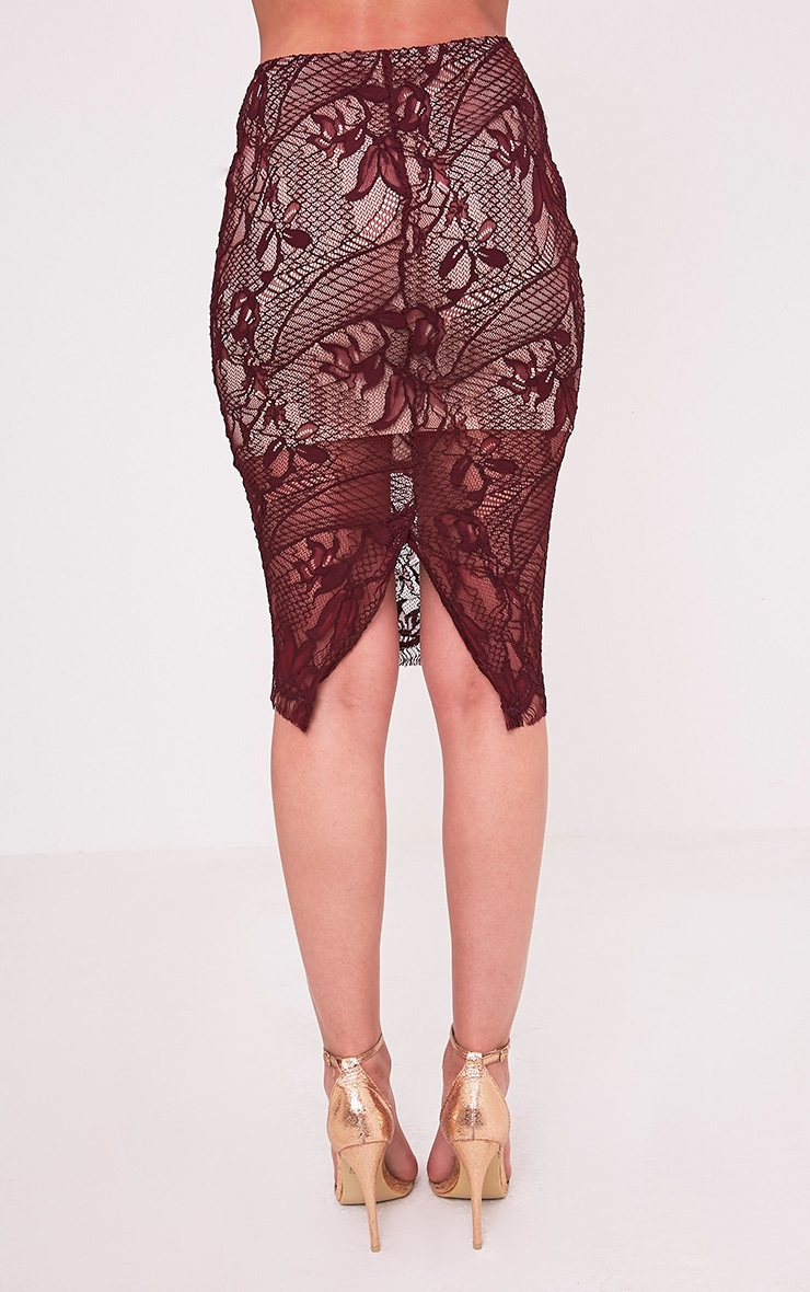 Leela Burgundy Lace Midi Skirt 5