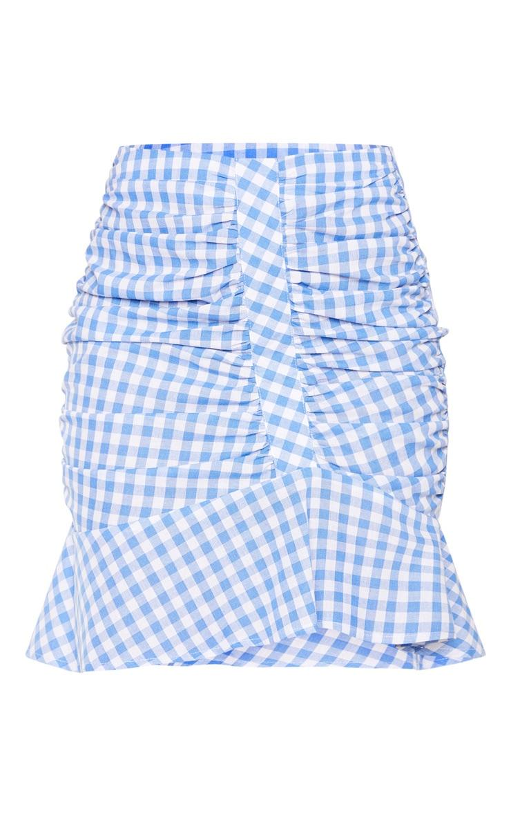 Light Blue Check Mini Skirt 3