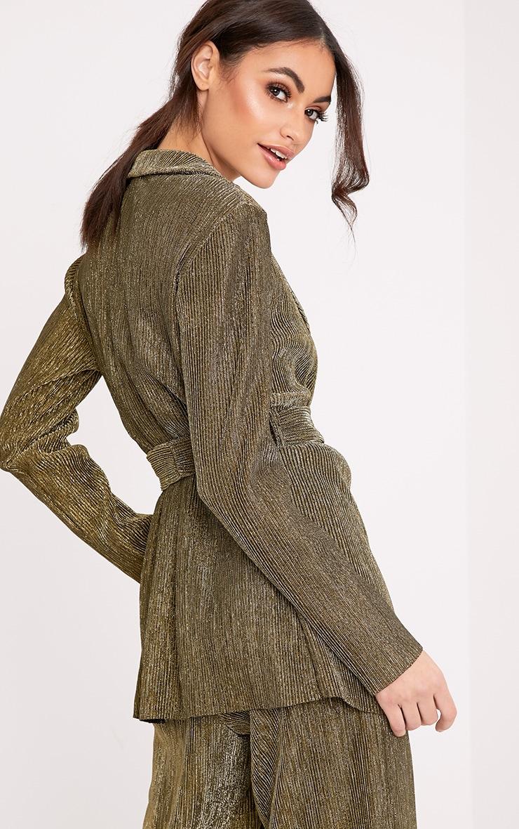 Roanna Gold Metallic Textured Belted Blazer 2